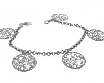 Small Alhambra Charm Bracelet with Swarovski Crystal in Sterling Silver