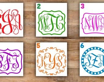 Custom Vine Monogram Decal For Car - Fancy Monogram Sticker For Yeti Cup Monogram Car Decal Initials