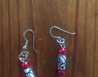 Paper beads with red glass bead earrings