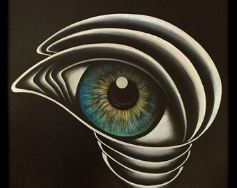 ORIGINAL large 36x36 abstract painting of a blue eye - Self Portrait - KacieArtGallery