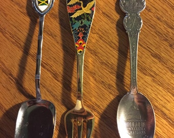 3 collectable pieces of mini silverware - fork, shovel, spoon