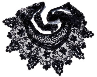 VINTAGE: Black Beaded Capelet - Beaded Shoulder Wrap - Day of the Dead Capelet - Mourning Capelet