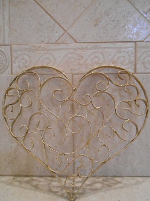 shabby gold and white metal heart home decor metal heart. Black Bedroom Furniture Sets. Home Design Ideas