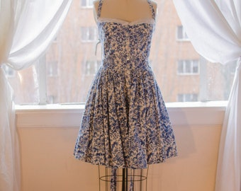 White Dress With deep blue China Pattern