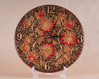 clock, Watch with a list, painted clock, Wall Clock, wooden clock, khokhloma