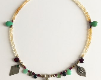 Necklace vintage of semi-precious stones and pendants ancient Afghanistan