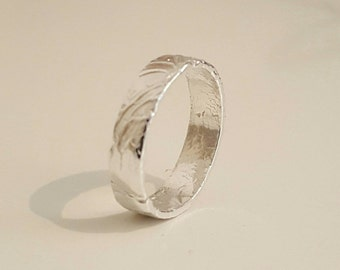 Feather textured silver ring