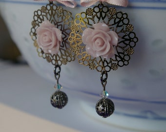 Parmes pink earrings and gunmetal