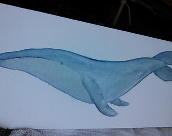 Humback whale watercolor 8x24