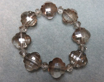 Scalloped and Faceted Smokey Crystal Beaded Bracelet