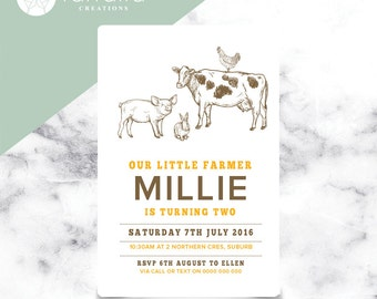 Farm Animal Invitation // 120 x 180mm // Change to any Age