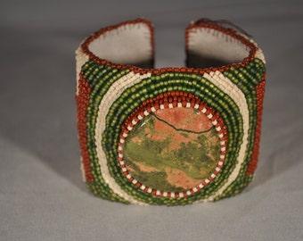 Matte Green, Matte Pink, Brown Beaded Bracelet/Cuff