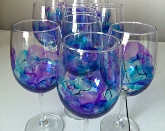 Hand painted wineglasses