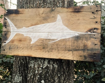 Blue Marlin Painted Wood Wall Hanging Sign