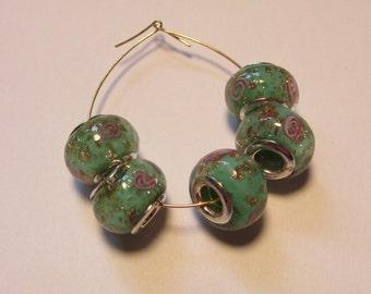 5 glass beads fits european bracelets LHJ4-4