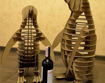 Wine bottle holder 3-D puzzle Penguin
