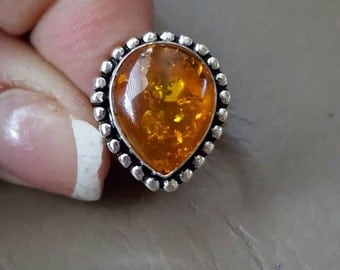 Amber Ring- size 6.25!