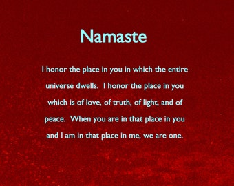"""Original Photo with quote, """"Namaste"""" in 5 different color versions with envelope and is ready to frame"""