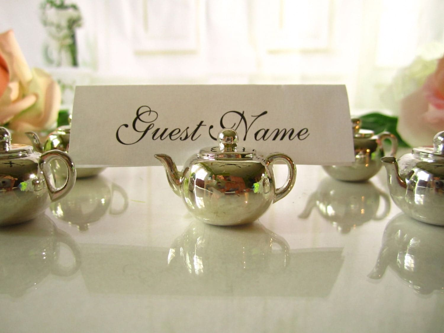 Vintage teapot place card holders name card holder menu holder for Place settings name card holders