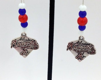 1 Pair - Atlanta Braves Theme Dangle Beaded Earrings Brass Ear wire Kidney Style EAR0074