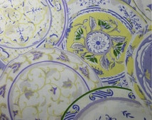 SALE! China Plates Fabric, Lavender, Yardage, or Fat Quarter, FQ, FBTY, Fancy Plates, China Set, Quilting Fabric Collector Plates Flowers