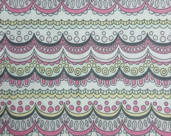 Zen Doodle Fabric, Yardage or Fat Quarter, FQ, Pastel, Scallops, Lacey Fabric, Doodle Fabric, Quilting Fabric, Drawing