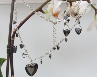 Gotta Have Hearts Hematite Necklace and Earrings Set