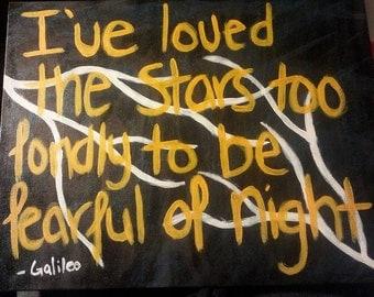 Galileo Quote Acrylic Painting