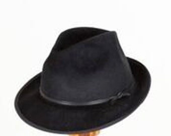 Black Fur Felt Fedora Hat