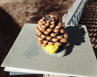 Pine Cone & Rock Paperweight painted
