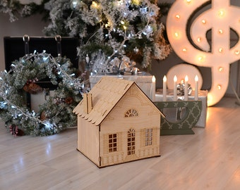 Wood doll house with fireplace. Laser wood kit.