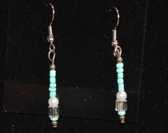 Mint Green Bead Earrings
