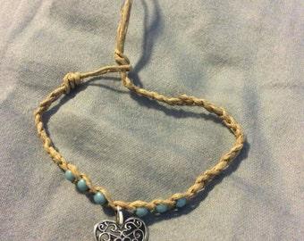 Valentine's heart turquoise beads bracelet