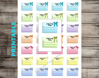 PRINTABLE Today's Top Three Half Box Checklists Planner Stickers Bows Erin Condren Vertical Happy Planner