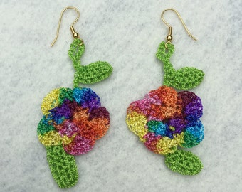 Crochet earrings...multi mingle