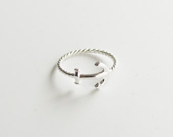 Ring sterling silver anchor ' On a Rope '