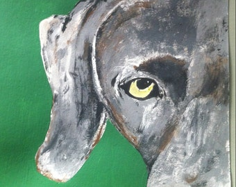 Weimaraner Half Face Acrylic Painting Wall Art on Canvas- Makes a Great Gift for Dog Lovers!