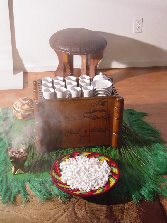 Ethiopian Ceremonial Coffee Servers Handcrafted Wood Round