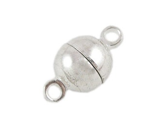 10 Sets Silver Tone Round Magnetic Clasps 6mm (B7j4)