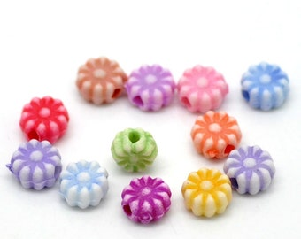 250 Acrylic Flower Spacer Beads 6mm (B21)