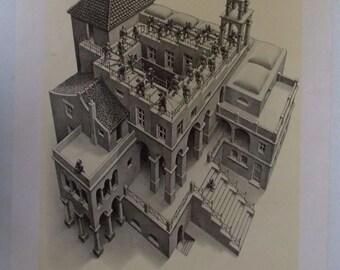 Vintage 1974 Poster Ascending and Descending by M.C.Escher, Klimmen En Dalen