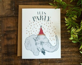 Party Elephant Card | Happy Birthday Card | Let's Party