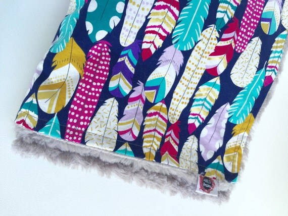Feather Print, Baby Blanket, Minky Baby Blanket, Woodland Blanket, Baby Shower Gift, Stroller Blanket, Receiving Blanket, Crib Blanket