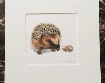 Hedgehog Original Acrylic Painting, Hedgehog art, Snail art, Woodland Nursery art, Nursery Decor, Woodland Critter art, baby shower gift