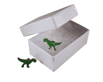 TRex Dinosaur Earrings in a White Jewelry Box - FREE SHIPPING