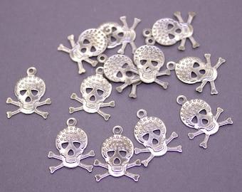 100 Silver Brass Skull Charms 16x12mm   Silver Skull Charms, Silver Skull Pendant, Raw Brass Skull Pendant, Brass Skull