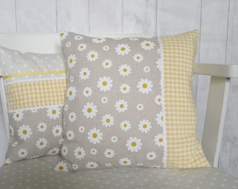 Yellow & Grey Daisy Cushion, Gingham and Floral Cushion, Yellow Throw Pillow, Gift for Her, Yellow Nursery Decor, Grey and Yellow Decor