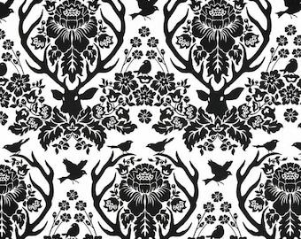 Deer Home Decor Sateen Fabric - Joel Dewberry Birch Farm Antler Damask Black - Sale Upholstery - Sateen Fabric by the Yard