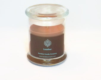 Leather Scented Candle in 12 oz. Status Jar