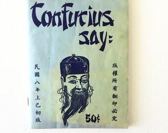 Confucius Say Paperback Words of Wisdom Humor Book Mid Century